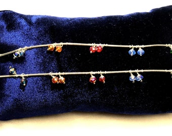 Multi color crystal bead dangling Anklets