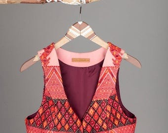 Maryke Vest of handwoven mayan brokat