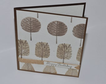 Hand Stamped Totally Trees Birthday Card