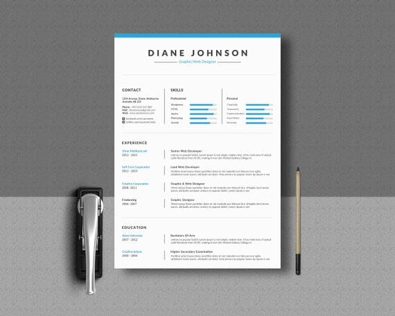 Resume Template Word / Indesign Illustrator Word EPS
