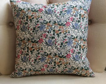 Liberty of London Pink Ricardo Cotton Cushion with Striped Backing