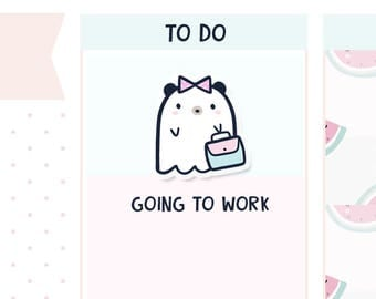 Going To Work Boo Bear - Planner Stickers    B01
