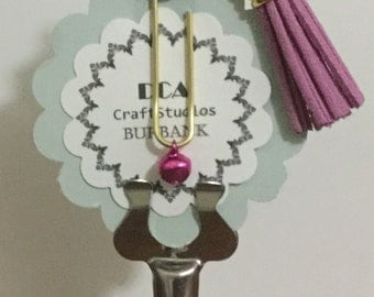 Embellished gold tone paperclip bookmark