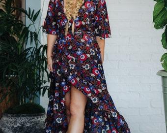 Womens flower child boho dress