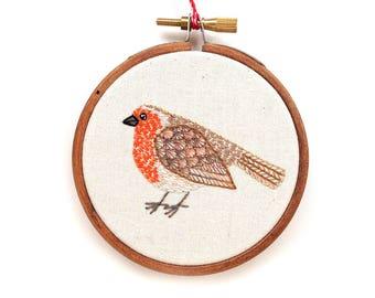 Embroidery Hoop Art Christmas Ornament, Little Robin