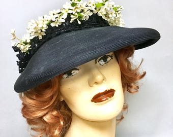 Great 1940's Navy Blue Straw, 40s WIDE BRIM Hat, w Floral Trim and Large Bow in Back, so LUCY!