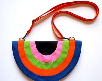 Rainbow Purse, Rainbow Bag, Rainbow Clutch, Rainbow Wallet, Kitsch Purse, Retro Purse, Club Purse, Rainbow Gifts, Psychedelic Bag - BLACK