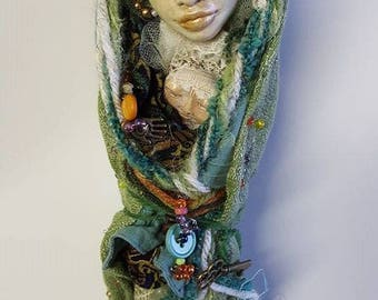 Yule tree decor, Nature Spirit, Art Doll, Handcrafted art doll, Kitchen, Witch on whisk, Nature Assemblage, soft sculpture doll, tree topper