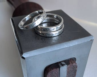 Anvil + Star Stackable Band Ring - Sterling Silver