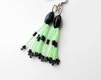 Neon Green & Black Dangle Earrings
