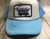 Toddler/Kids Trucker Hat- Wanderlust Patch -Light Blue ...