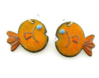 Goldfish Earrings, enameled fish earrings in either orange or blue by Kathryn Riechert