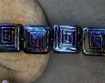 Peacock Labyrinths - Handmade Glass Lampwork Square Beads SRA MTO Elasia