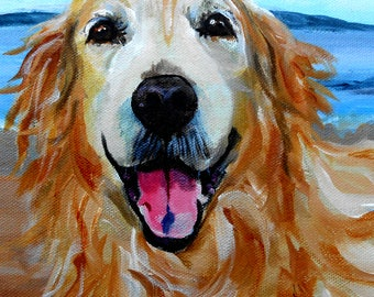 Oil Painting Pet Portrait Oil Painting, Custom from your Photographs, Golden Retriever Art, or any Breed, 11 x 14""