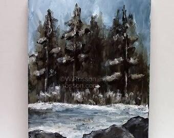 Lake Ice, Original Painting, Winter, Lake, Trees, Original Art, Home Decor, Office, Cabin, Gift, Winjimir, Design, Winter Landscape, Art,