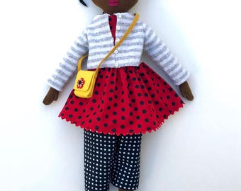 Girl doll Polka Dots and Stripes wool softie