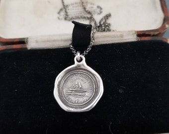 Sample sale - Sailors Sweetheart Sterling Silver Wax Seal Pendant - One of a kind / Limited Edition