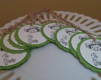 "Presents ""to / from"" tags - green red - set of 10 - perfect for gift tags, holiday parties, classroom treats, etc.!"