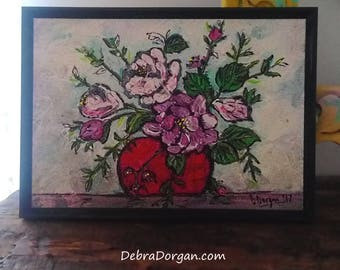 Pot of Roses, Original Painting, Joy, Bohemian, Art, Cheery, Rustic, Wall Art, Home Decor, Cottage Decor