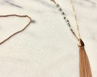 Rosegold and Moonstone Tassel Necklace