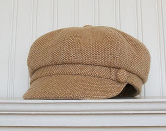 Womens Wool Hat, Womens Newsboy Cap, Tan and White Wool, Newsboy Hat - (S)