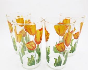 Vintage Tulip Printed Juice Glasses set of 4 Retro 40s 50s Small Print Orange Green Floral Flower