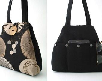 black tote bag with pockets converts to hobo bag, shoulder tote bag, womens handbags, black shoulder purse, fabric handbag