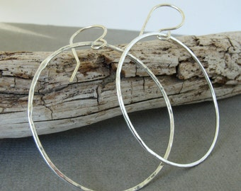 Silver Hoop Earrings, Lightly Hammered, Sterling Silver, Classic Round Hoop Earrings, Handmade Every day Hoops, Eco Friendly Silver