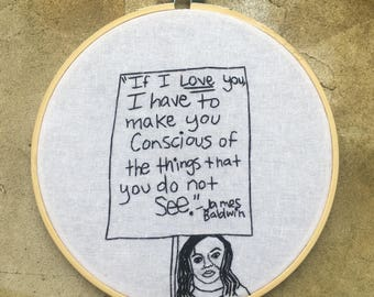 If I Love you - hand drawn and embroidered protest art hoop art wall hanging