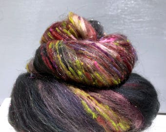"Dark Grey fiber art batt Zombies PHATFIBER ed ""Grey Matter"" spinning felting Dark Grey Green pink yellow green orange purple, Halloween Batt"