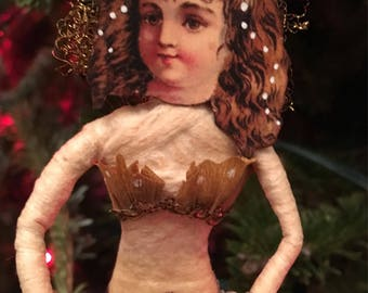 Victorian Look Spun Cotton Christmas Ornament Vintage Inspired Handmade Mermaid From the Sea