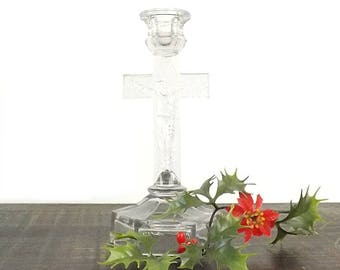 EAPG Crucifix Candlestick, Vintage Crystal Candle Holder, Hexagon Base & Embossed Wood Grain, Collectible Catholic Christian Religious Icon