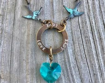Patina Lovebirds With Teal/Aqua Swarovski Crystals