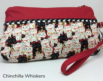 Maneki Neko Zippered Wristlet