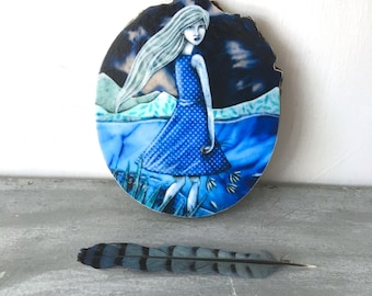 Unique home decor, She dreams in blue, monochromatic art, shellieartist, boho girl, soul searcher, Mounted Print, round wood slice