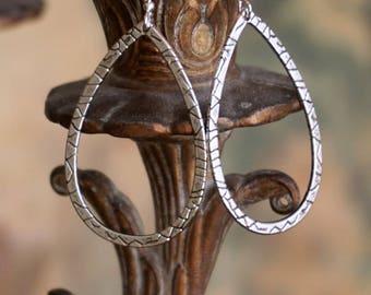Textured Silver Teardrop Dangle Earrings