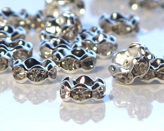 Rhinestone Rondelle Clear Crystal Silver Plated 6mm Spacers 20 pcs.