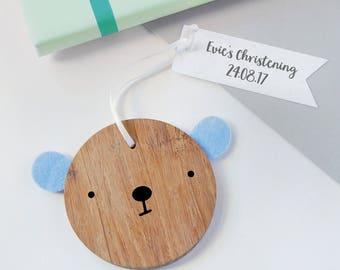 Christening Bear Personalised Keepsake - New Baby Wooden Keepsake - Christening Gift - New Baby Gift - Wooden Bear Decoration