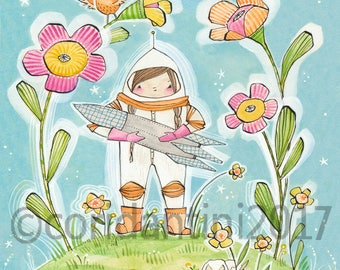 """Girl Powers, Little Girl Astronaut wall Art Print by cori dantini  """"8 x 8"""" Baby Nursery Girls Room  Archival and Limited edition"""