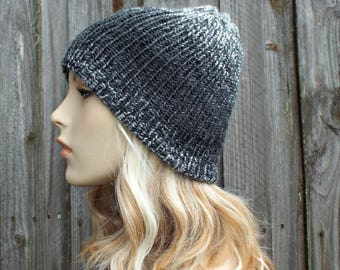 Double Knit Hat Charcoal and Silver Grey Mens Beanie, Grey Womens Beanie, Reversible Thick Winter Hat, Grey Hat, Grey Beanie - READY TO SHIP