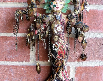 OOAK Steampunk TREE Temple Goddess fantasy art doll 12 in. tall