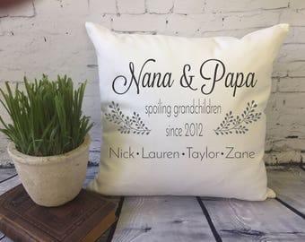 personalized grandparent throw pillow cover/ Nana and Papa/ grandparent gift/ grandchildren names pillow