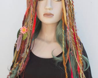 Flower Wool Dread Hair Falls Brown Hair Extensions Gothic Indie Goth Psytrance