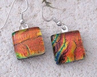 Petite Golden Red Earrings, Dangle Drop Earrings, Dichroic Earrings, Fused Glass Jewelry, Sterling Silver Earrings, Ccvalenzo, 061117e103