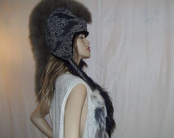 Tribal Head Piece OOAK Halloween Costume Indian Hat Upcycled Real Faux Fur Gray Black Warrior Fur Fleece Hat Adult Free Size Head Piece