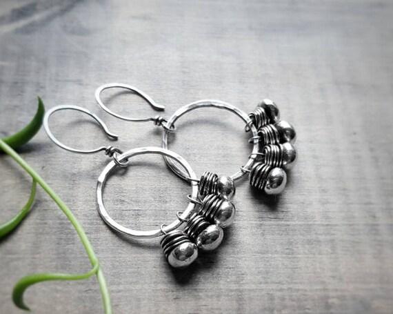 Silver Beaded Earrings - Silver Circle Earrings - Sterling Boho Earrings - Statement Earring - Wire Wrapped Earrings - Hammered - Fringed