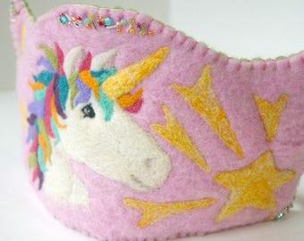 Unicorn Birthday Crown:  Waldorf Inspired Felted Wool Crown (Rainbow Unicorn Custom Made Crown)