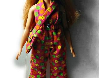 Curvy Barbie Retro Orange Jumpsuit with Purse