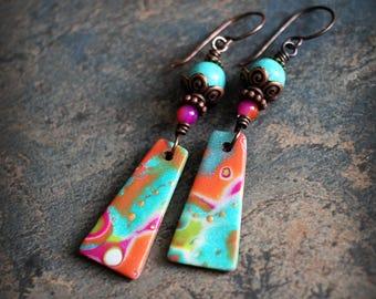 Colorful and Boho. Artisan made earrings. Fun dangle earrings. Handmade beads, antiqued solid copper. Teal orange pink.