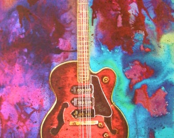 Guitar Art, Gibson ES-5, Guitar Watercolor, Guitar Painting, Gibson Guitar, Gibson Watercolor, Gibson Painting, Contemporary, Guy Gift